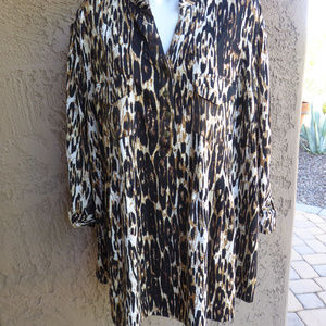 NEW DIRECTIONS WOMANShades of Brown & Ivory Top 2X